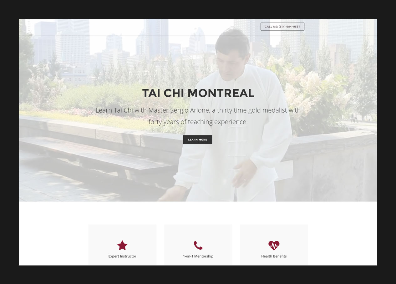 The header section of a landing page design for a martial arts school