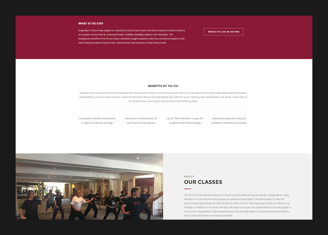 The benefits section of a landing page design for a martial arts school