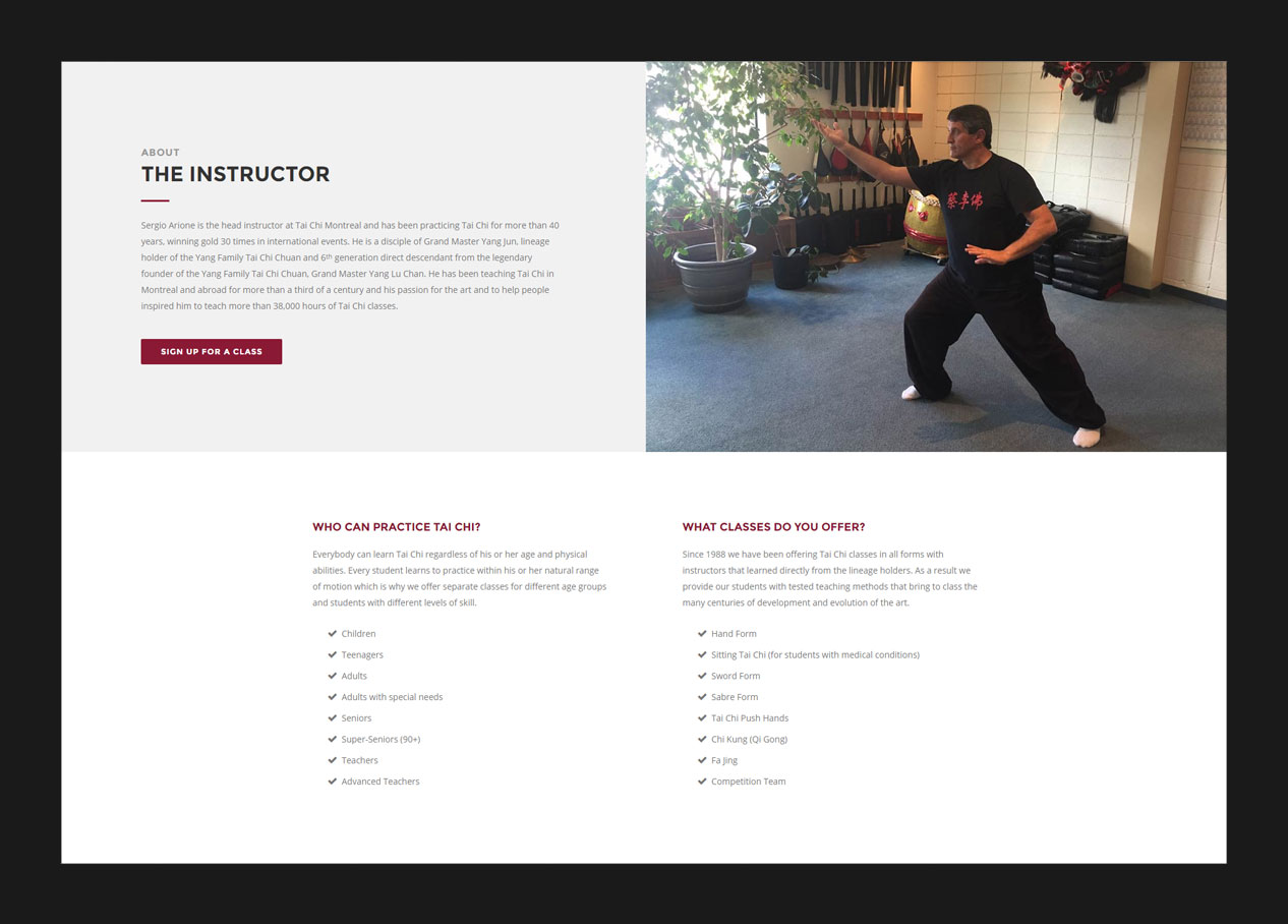 Information section of a landing page design for a martial arts school