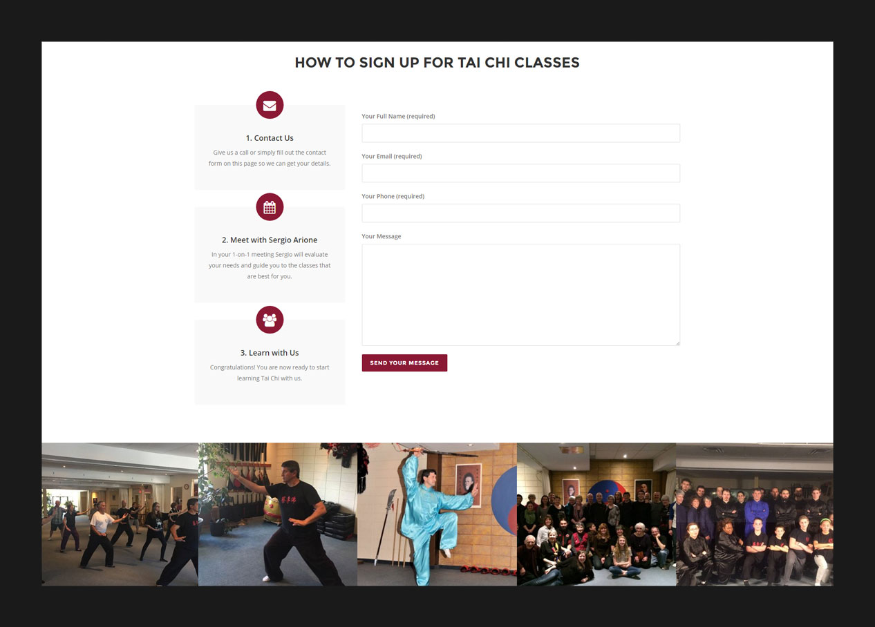 The class registration section in landing page design for a martial arts school