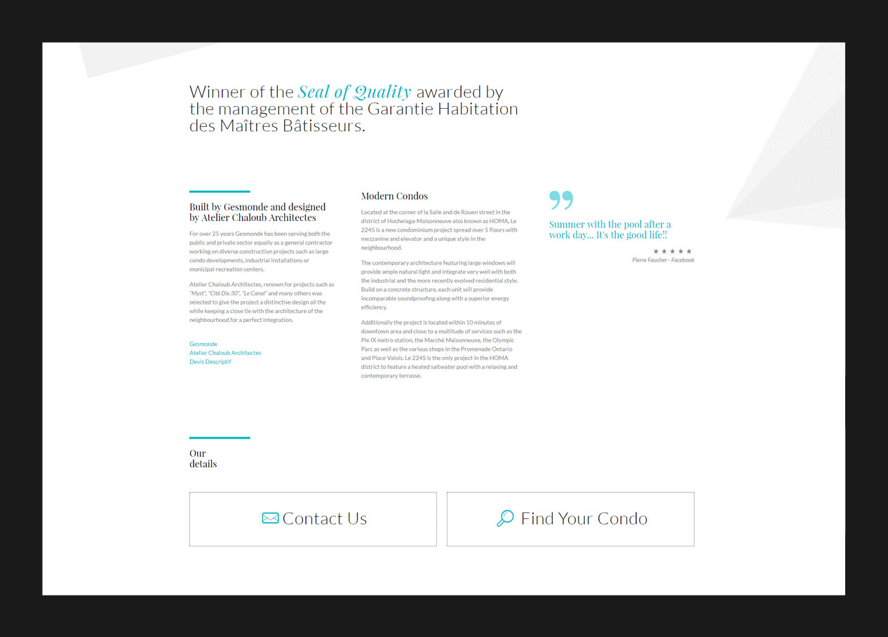 Screenshot of the about page in website design
