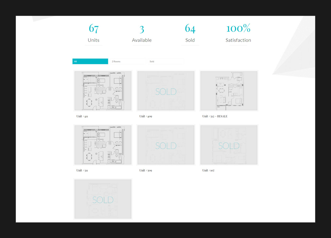 The plans page for a condo project website design