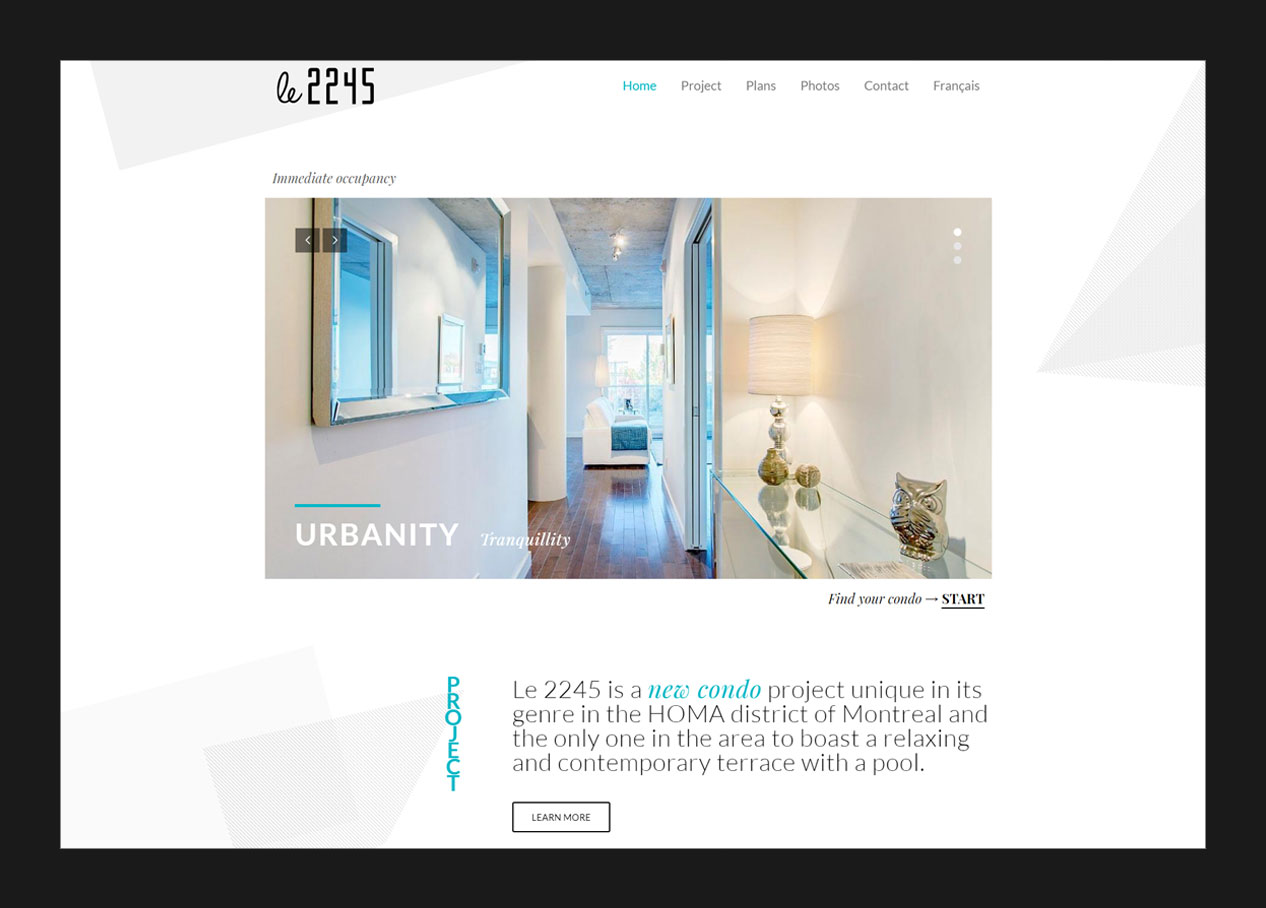 Web design for the homepage of a condo project